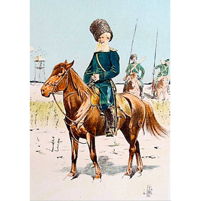 French Cavalry Officer Prints, 1893 - Pair of 2 For Sale - Image 4 of 4