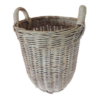 Large Vintage Woven Willow Basket With Handles For Sale