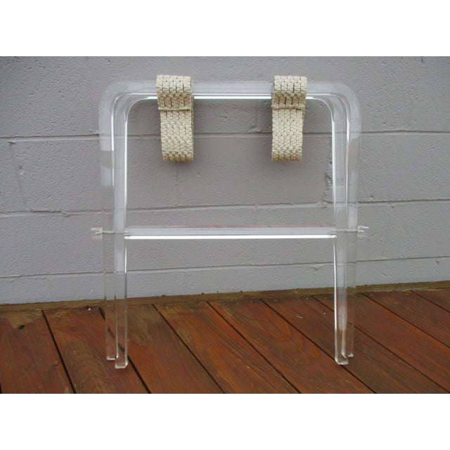 Mid-Century Modern Lucite Folding Luggage Rack For Sale In Phoenix - Image 6 of 9