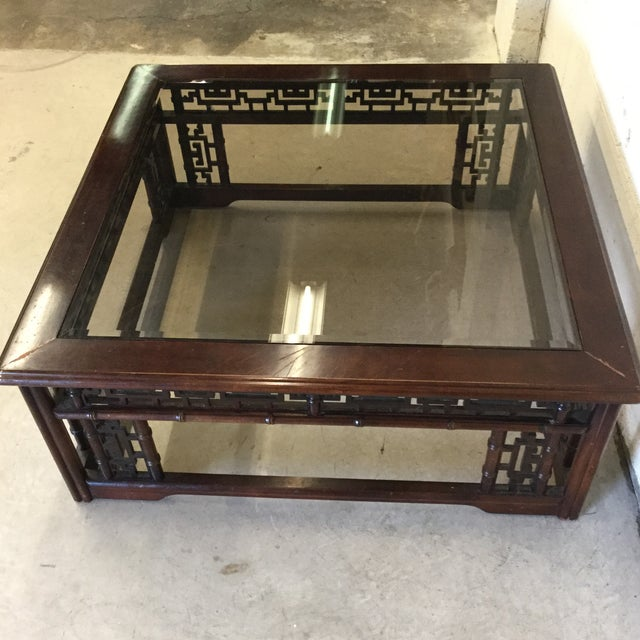 Glass Mahogany Asian Style Glass Top Coffee Table For Sale - Image 7 of 10