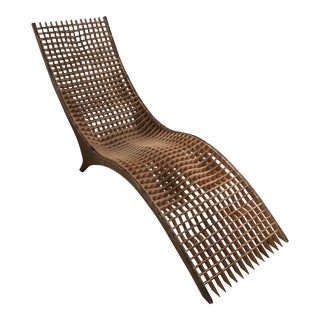 Custom Sculptural Laser Cut Wood Lounge Chair For Sale