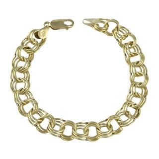 Vintage 14k Gold Link Charm Bracelet For Sale