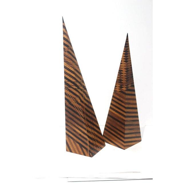 Vintage Parquetry Wood Obelisks - Set of 2 For Sale - Image 13 of 13