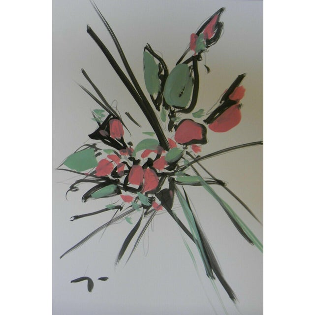 Jose Trujillo Acrylic Expressionist Painting of Pink Roses 15/17 For Sale