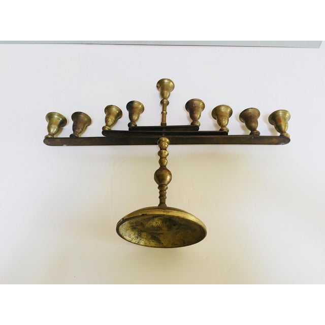 Mid-Century Vintage Articulating Brass Menorah For Sale In Palm Springs - Image 6 of 10