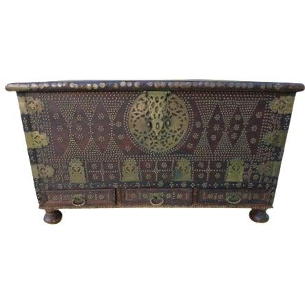 Moorish Teak & Brass Studded Trunk For Sale