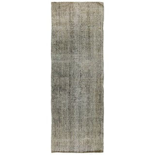 Vintage Turkish Silver Gray Wool Kilim Runner - 3′ × 9′ For Sale