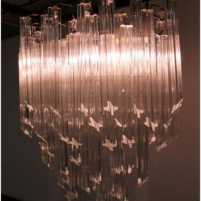 Camer Mid-Century Modern Murano Chandelier Glass Prisms Light Fixture For Sale In New York - Image 6 of 9