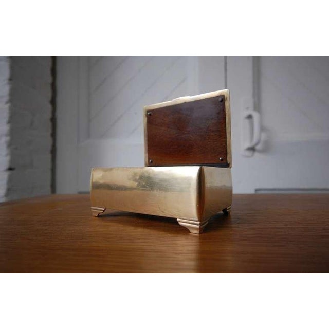 Mahogany lined Brass Box by Just Andersen. Denmark, circa 1930's. A very nice, early example of Andersen's work. LUNA...