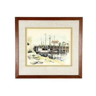 Open Water East Coast Cape Harbor Illustration - Signed and Framed For Sale