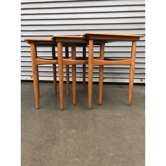 Danish Modern 1960s Scandinavian Kai Kristiansen Teak Nesting Tables - Set of 3 For Sale - Image 3 of 8