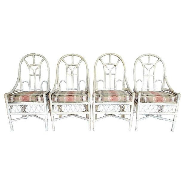 White Rattan Arch Back Chairs - Set of 4 - Image 1 of 5