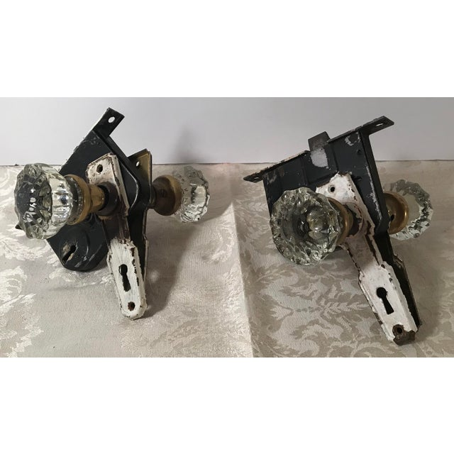 Glass Doorknobs With Hardware and Locks - a Pair For Sale - Image 10 of 10