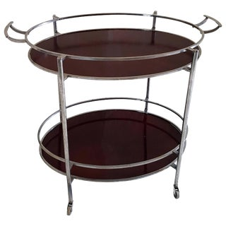 Mid-Century Oval Polished Stainless Steel and Chrome Cherry Wood Bar Cart For Sale
