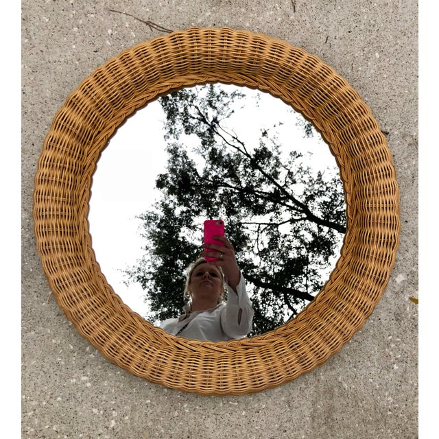 Vintage Natural Wicker Round Circle Mirror - Image 7 of 7