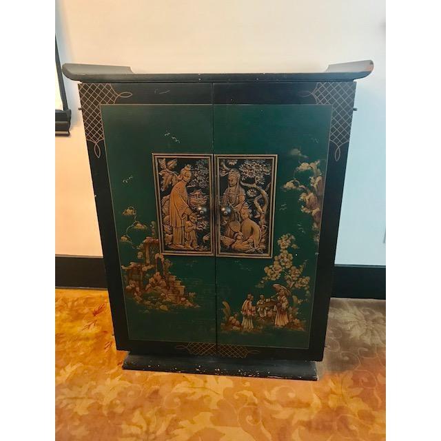 Green 1930's Vintage Bar Cabinet For Sale - Image 8 of 8
