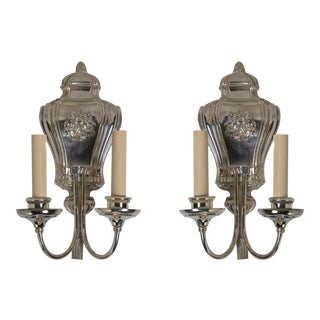 1910s Caldwell Silverplated Sconces - a Pair For Sale