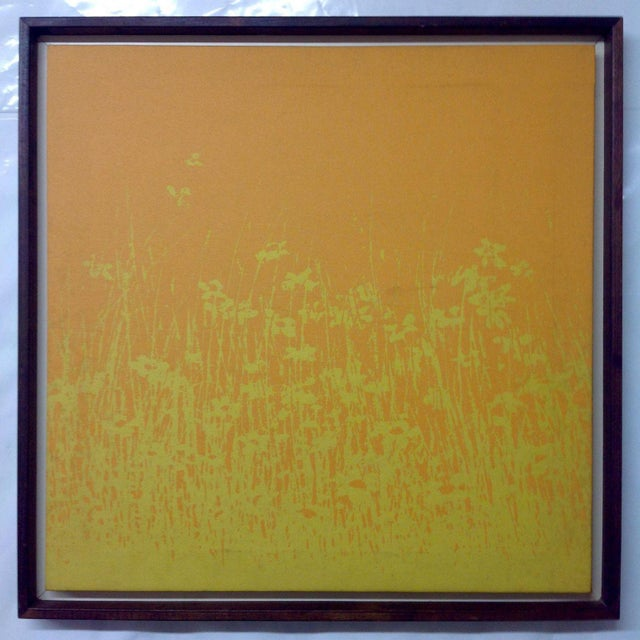 Offered is a mid-century modern Raymor era pop art composition depicting a bold field of daisies. This framed piece...