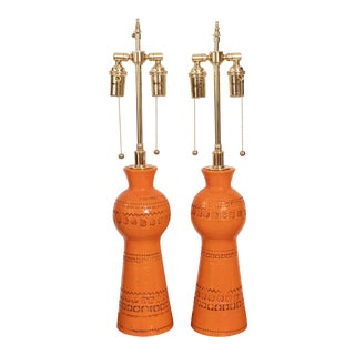 Vintage Pair of Orange Glazed Ceramic Table Lamps For Sale