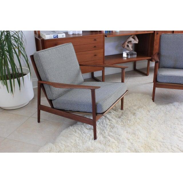 Danish Modern 1960s Vintage Danish Modern Kofod Larsen for Selig Walnut Lounge Chairs- a Pair For Sale - Image 3 of 10