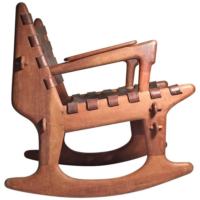 Angel I. Pazmino Angel Pazmino Leather and Wood Rocking Chair For Sale - Image 4 of 4