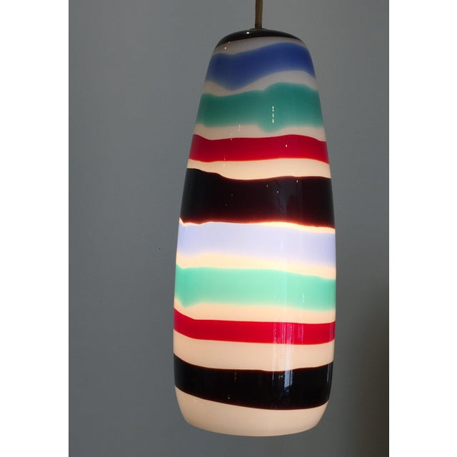1950s Mid Century Striped Pendant Light For Sale - Image 5 of 7