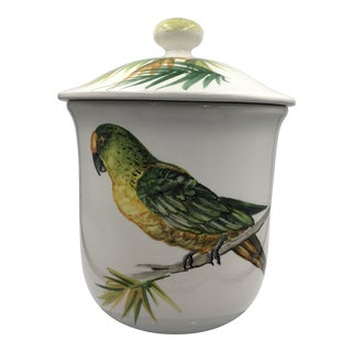 Vintage Italian Ceramic Hand Painted Parrot on Lidded Jar For Sale