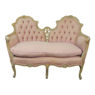 Louis XV Style Carved Painted Settee For Sale