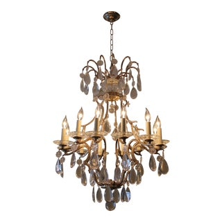Traditional Brass and Crystal 12 Light Chandelier