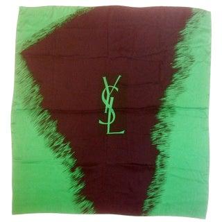 Yves Saint Laurent Emerald & Ebony Silk Scarf C 1980s For Sale