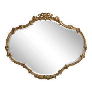 Friedman Brothers Gold Gilt Horizontal Shell Carved Mirror For Sale