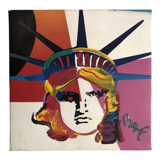 """1993 Abstract Acrylic Painting on Canvas, """"Liberty"""" by Peter Max For Sale"""
