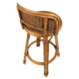 Rattan Bar Stool Pair With Woven Wicker Seats, Set of Two Preview