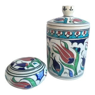 Vintage Turkish Iznik Lidded Jars - Set of 2 For Sale