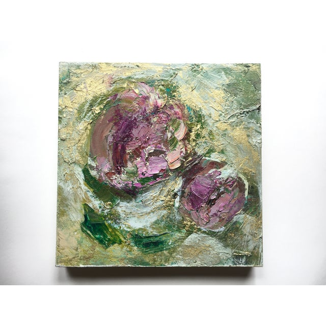 2010s Abstract Metallic Gold Floral Oil Painting by Jenny Vorwaller For Sale - Image 5 of 5