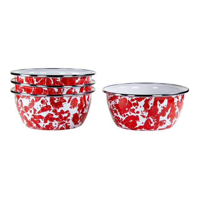 Salad Bowls Red Swirl - Set of 4 For Sale