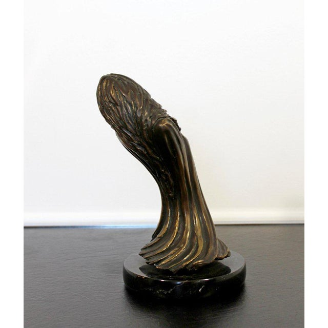 """For your consideration is an incredible, bronze table sculpture, depicting a Surrealist woman, entitled """"Dreams,"""" signed..."""