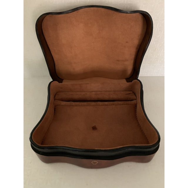Mid 20th Century Vintage Italian Leather Men's Jewelry Box For Sale - Image 5 of 9