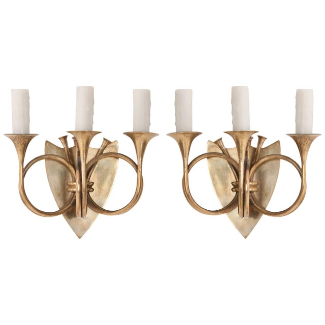 English 19th Century Brass Horn Sconces - a Pair For Sale - Image 11 of 11