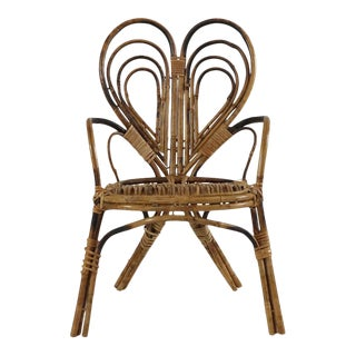 1960s Vintage Children's Bamboo Chair For Sale