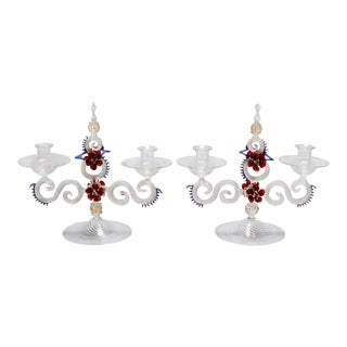 Two Light Venetian Glass Hand Blown Candlesticks - a Pair For Sale