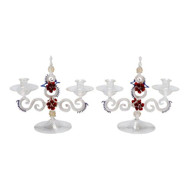 Two Light Venetian Glass Hand Blown Candlesticks - a Pair For Sale