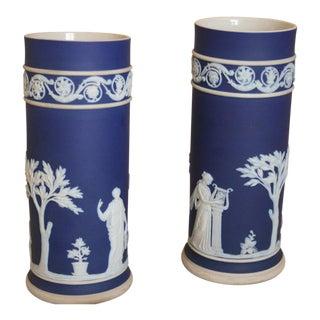 Vintage Wedgwood Jasperware Neoclassical Cobalt Blue & White Spill Vases - a Pair For Sale