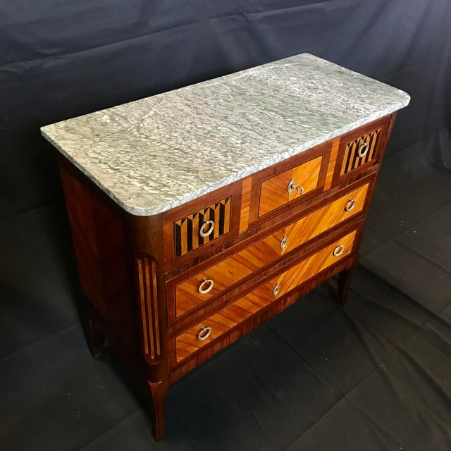 Brown 1940s Vintage French Louis XVI Style Marquetry Inlaid Petite Commode For Sale - Image 8 of 13