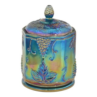 Iridescent Peacock Blue Lidded Jar For Sale