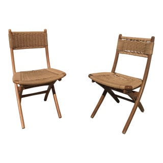 1950s Mid-Century Modern Folding Woven Chairs - a Pair For Sale