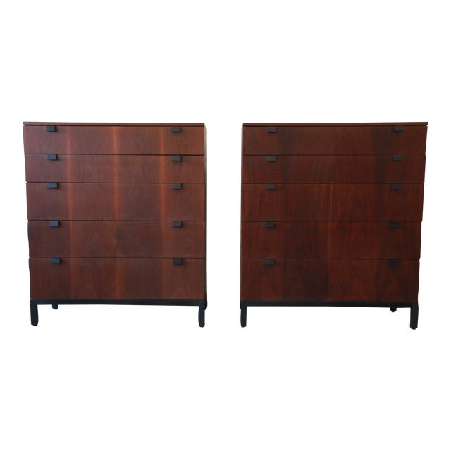 Milo Baughman for Directional Rosewood Highboy Dressers - A Pair For Sale