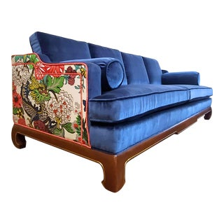 Epic Schumacher Chiang Mai and Velvet Chinoiserie Drexel Sofa For Sale