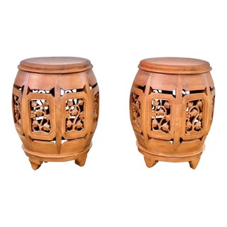 1920s Asian Hand Carved Rosewood Oriental Garden Stools - a Pair For Sale