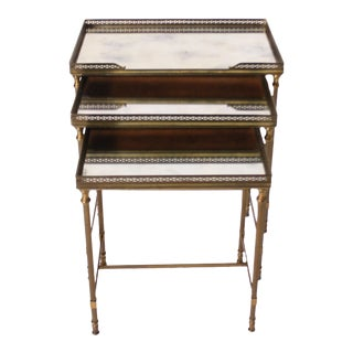 Vintage Mirror Glass Nesting Tables - Set of 3 For Sale